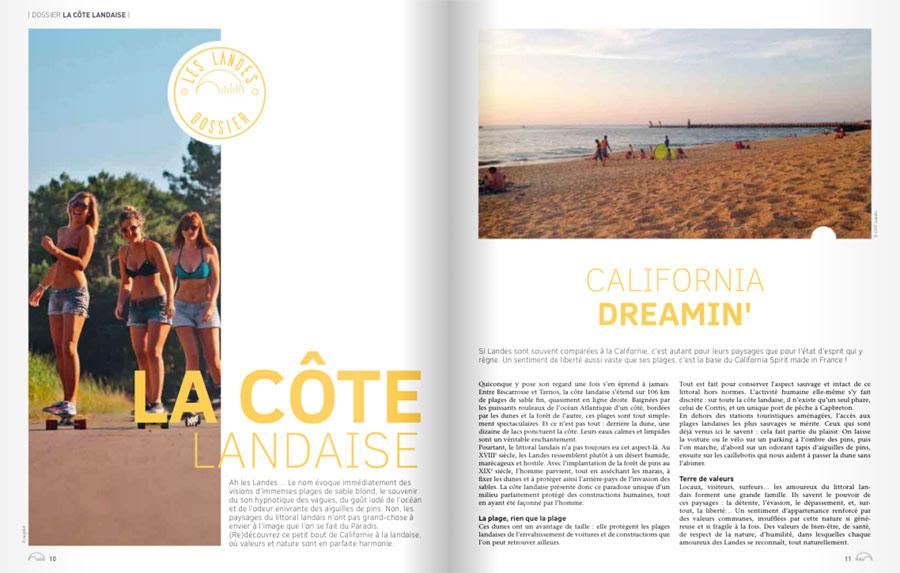 Mag Les Landes 2018 du CDT 40. Rédaction de contenus.