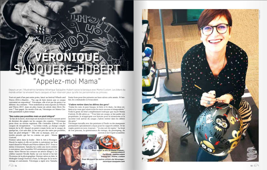 Mag Les Landes 2018 du CDT 40. Rédaction de contenus. Portrait de Véronique Saüquere-Hubert, alias Mama Custom